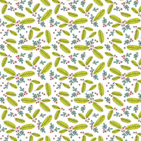 Ditsy Retro Branch - white fabric by twobirdstone on Spoonflower - custom fabric