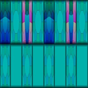 Blue Green Tribal Pattern © Gingezel™