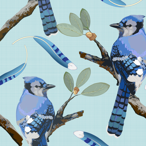 Blue Jays on Aqua fabric by shellypenko on Spoonflower - custom fabric