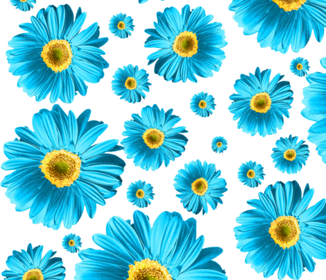 Blue Daisies fabric by ophelia on Spoonflower - custom fabric