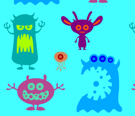 Colorful monsters fabric by lavenderstarfish on Spoonflower - custom fabric