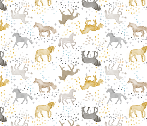 Watercolor Horses in Brown fabric by emilysanford on Spoonflower - custom fabric