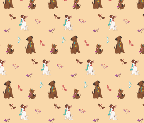 Tres Chic Terriers And Shoes Big fabric by mfirebaugh on Spoonflower - custom fabric