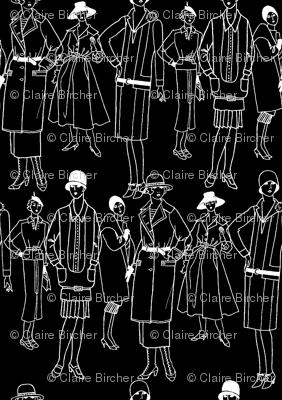 Fashion Parade, white on black