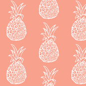 Pineapple Party in White on Coral