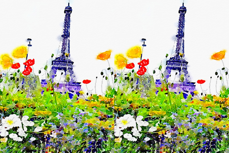 LARGE scale Spring in Paris Eiffel Tower Watercolor fabric by theartwerks on Spoonflower - custom fabric