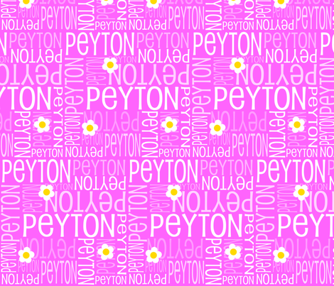 Personalised Name Fabric - Party Pink Daisies fabric by shelleymade on Spoonflower - custom fabric