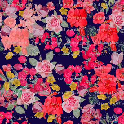 Antique Floral  EXTRA LARGE print //NAVY