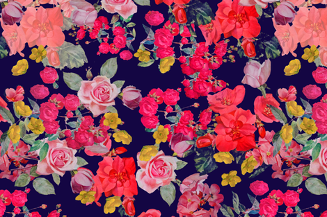 Antique Floral  EXTRA LARGE print //NAVY fabric by theartwerks on Spoonflower - custom fabric