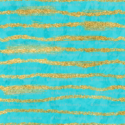 Thin Gold Glitter Stripes + Turquoise