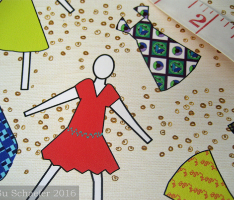 Fashion dolls on gold + linen by Su_G