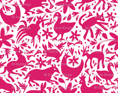 Mexico Springtime: Hot Pink on White (Large Scale)