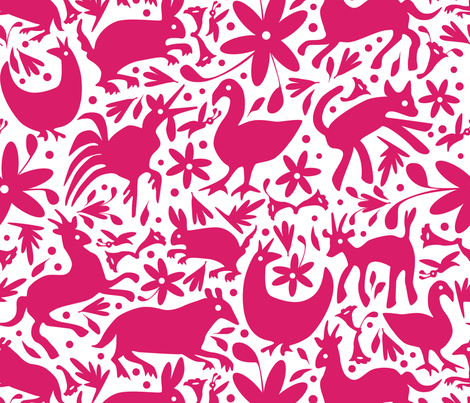 Mexico Springtime: Hot Pink on White (Large Scale) fabric by sammyk on Spoonflower - custom fabric