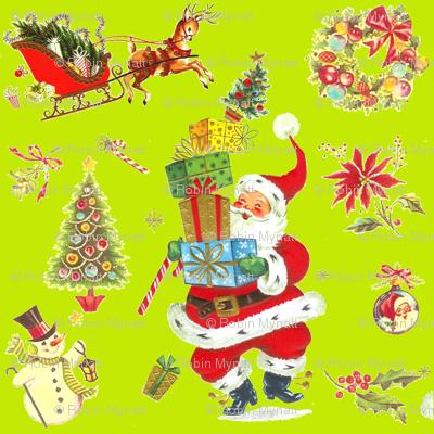 Ho Ho Happy on Lime! Vintage style Christmas Santa