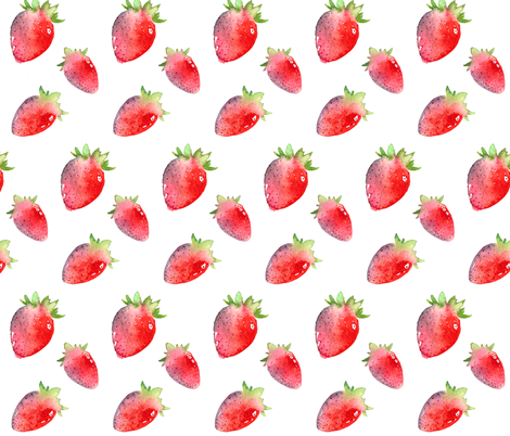 Tumbling Strawberries fabric by caitieillustrates on Spoonflower - custom fabric