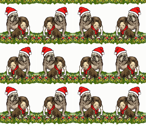 Christmas Holly and Bulldogs fabric fabric by dogdaze_ on Spoonflower - custom fabric