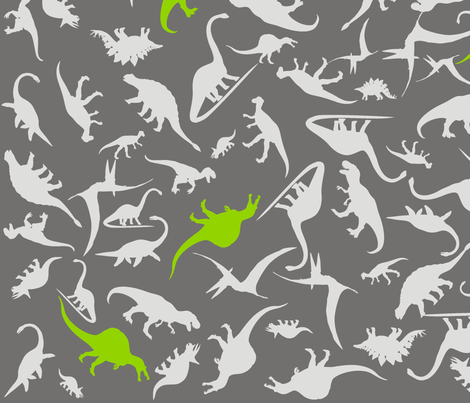 Dinorific Greylime fabric by smuk on Spoonflower - custom fabric