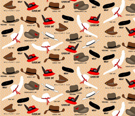 Hats on dots fabric by vanillabeandesigns on Spoonflower - custom fabric