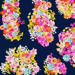 Summer Bright Floral Cluster // Navy