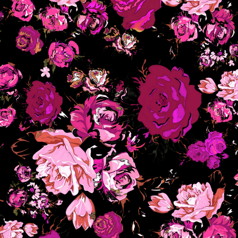 Antique Inspired Floral in Hot Pink and Magenta on Black fabric by theartwerks on Spoonflower - custom fabric