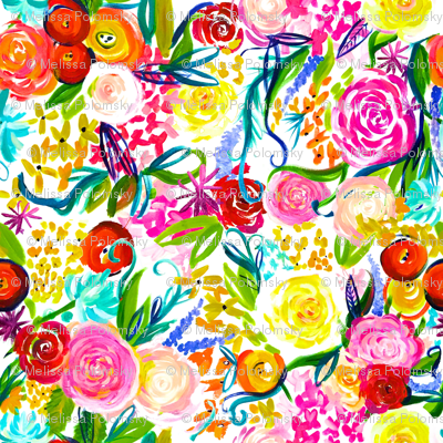 "Neon Summer Floral (Extra Large Size 54"" Repeat)"