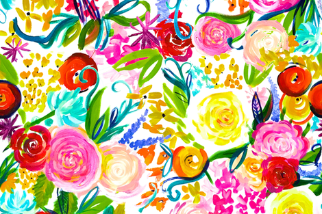 "Neon Summer Floral (Extra Large Size 54"" Repeat)  fabric by theartwerks on Spoonflower - custom fabric"
