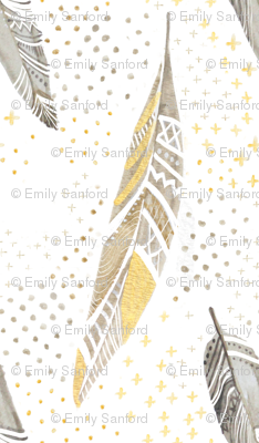 Watercolor Feathers in Gold and Grey