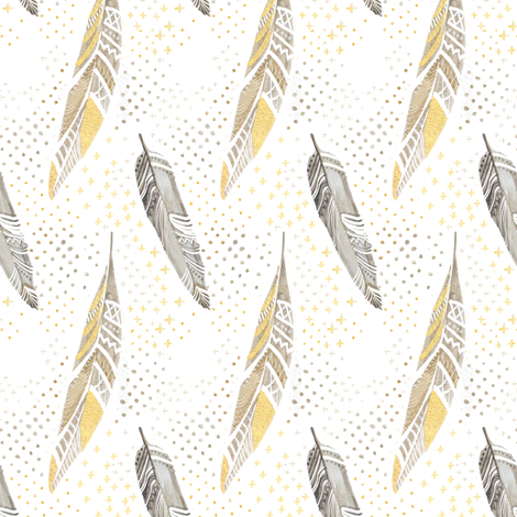 Watercolor Feathers in Gold and Grey fabric by emilysanford on Spoonflower - custom fabric
