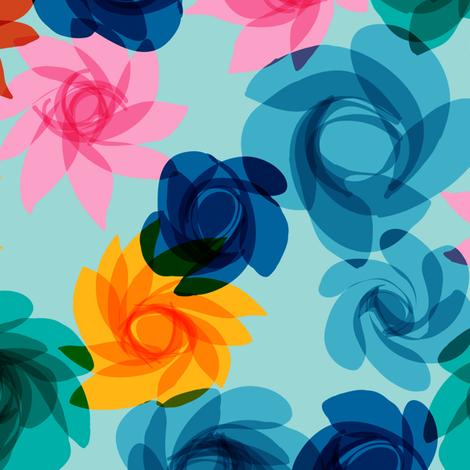 Cocktail Flowers blues-2 fabric by modernprintcraft on Spoonflower - custom fabric