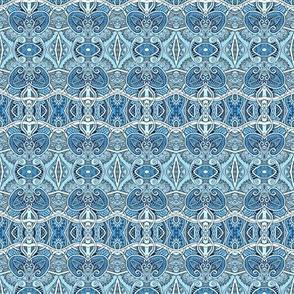 Blue Scallop Paisley Lace