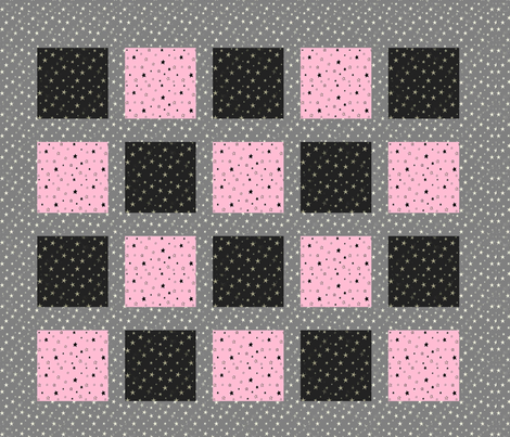 Grey and Pink Stars Patchwork Cheater Quilt fabric by bohobear on Spoonflower - custom fabric