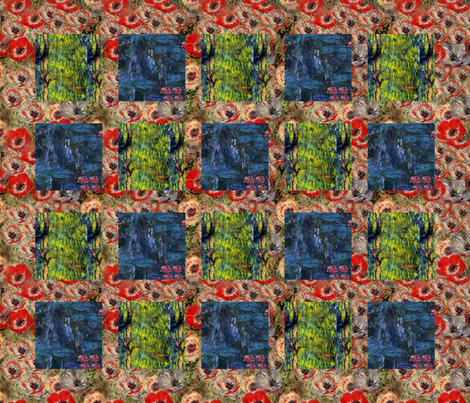 Monet Nympheus Anemone Weeping Willow Cheater Patchwork Quilt fabric by bohobear on Spoonflower - custom fabric