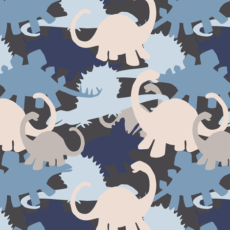 Tiny Dinosaur Camouflage in Blues & Grays fabric by lauriekentdesigns on Spoonflower - custom fabric