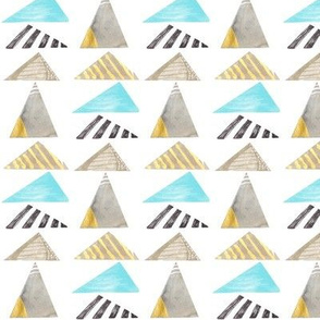 Watercolor Triangles in Blue and Grey
