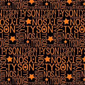 Personalised Name Design - Stars Black and Orange