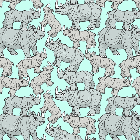 Rhino Stack fabric by imaginaryanimal on Spoonflower - custom fabric