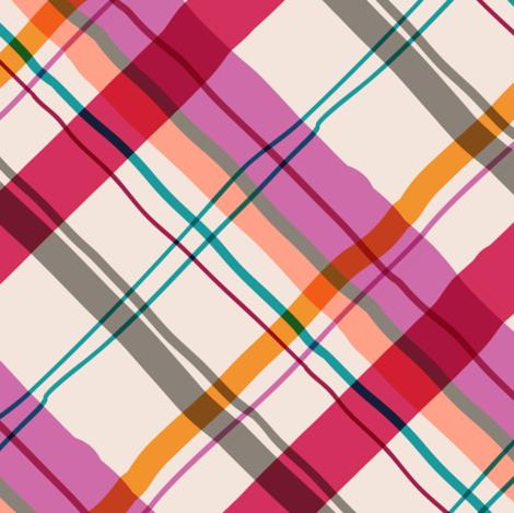 Cocktail Plaid pinks-1 fabric by elizabethhalpern on Spoonflower - custom fabric