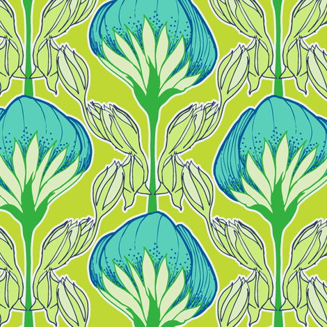 Flower Fans chartruese fabric by elizabethhalpern on Spoonflower - custom fabric