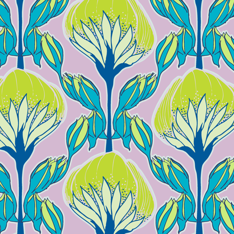 Flower Fans lilac fabric by modernprintcraft on Spoonflower - custom fabric