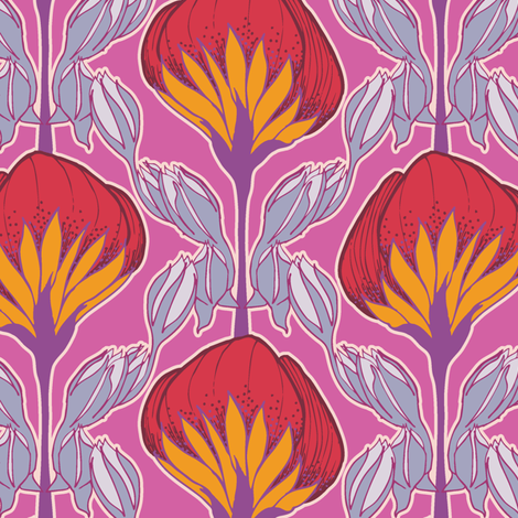 Flower Fans pop pink fabric by modernprintcraft on Spoonflower - custom fabric