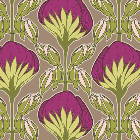 Flower Fans magenta fabric by modernprintcraft on Spoonflower - custom fabric