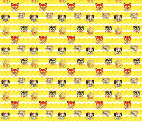 Vintage Baby Animals on Ruffles fabric by vintagegreenlimited on Spoonflower - custom fabric