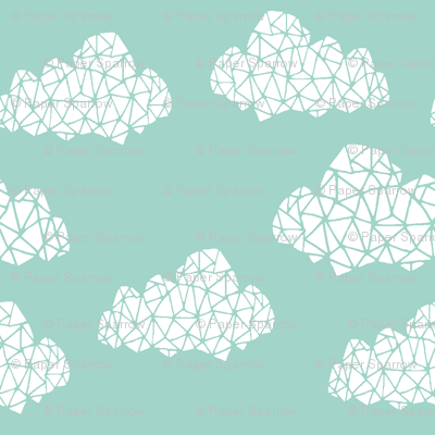 geo clouds // mint pastel gender neutral trendy mint clouds for baby nursery