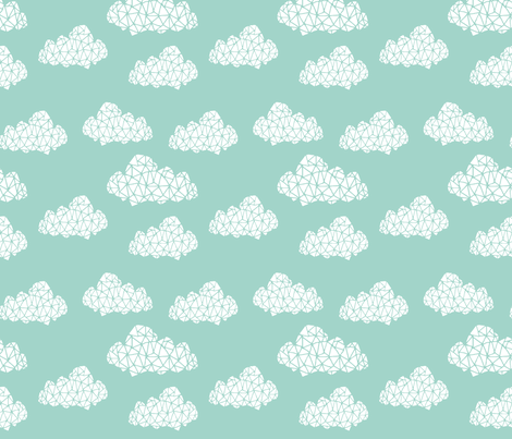 geo clouds // mint pastel gender neutral trendy mint clouds for baby nursery fabric by andrea_lauren on Spoonflower - custom fabric