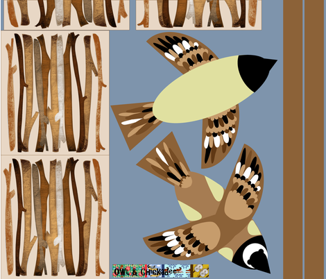 Chickadee and Twigs Pencil Roll fabric by owlandchickadee on Spoonflower - custom fabric