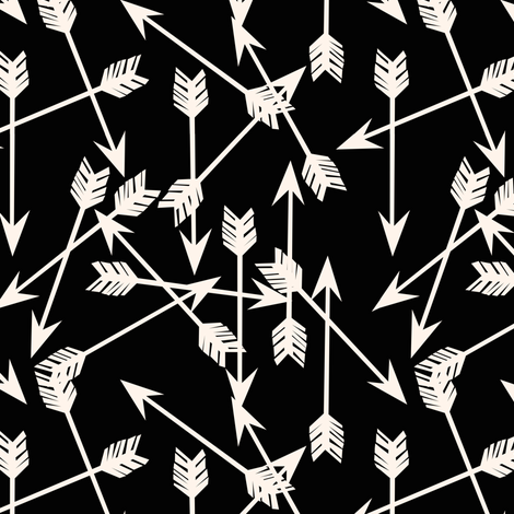 arrows scattered // black and cream off-white southwest simple print fabric by andrea_lauren on Spoonflower - custom fabric