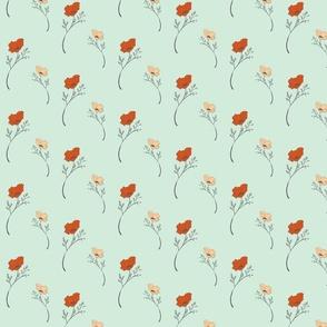poppy aqua and terracotta