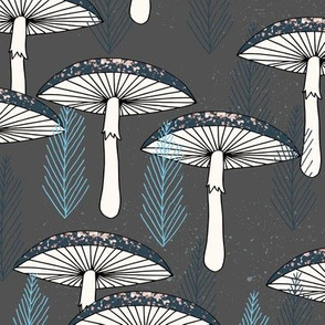 Fungus Forest -- Charcoal/Soft Blue/Navy