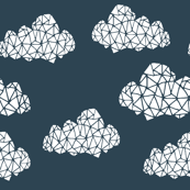 geo clouds // geometric cloud design on dark gray blue for boys and gender neutral nursery
