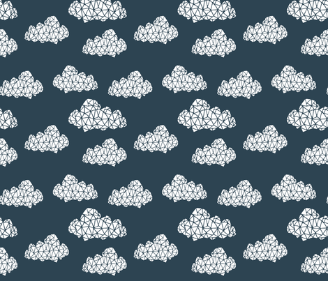 geo clouds // geometric cloud design on dark gray blue for boys and gender neutral nursery fabric by andrea_lauren on Spoonflower - custom fabric